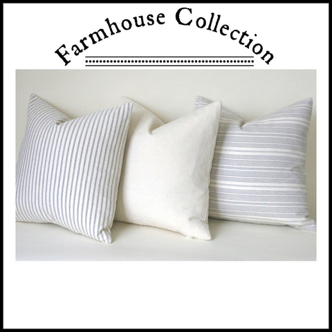 Farmhouse Collection: Grey Pillow Covers / Pinstripe Pillow / Vintage Washed Cotton / Cotton Ticking Pillow Case / Striped Cushion Cover - Annabel Bleu
