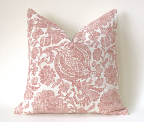 Batik Blush Pillow / Blush 20x20 / 20x20 Cushion Cover / 20x20 Pink Pillow Cover / Cream 20x20 Blush / 20x20 Sofa Pillow Cover - Annabel Bleu