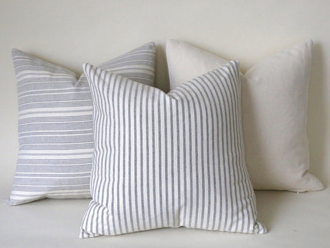 Coordinated Euro Shams / Farmhouse Pillow 24x24 / Ticking Stripe 24x24 / Solid Grey 24x24 / Light Grey 24x24 / 24x24 Gray Pillow Cover - Annabel Bleu