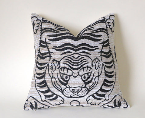 Woven Chenille Tiger Pillow Cover / Statement Pillow cover / Tiger Cushion Cover / Cream Taupe Animal Print Pillow / Leopard Pillowcase - Annabel Bleu