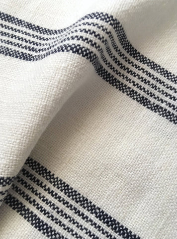 Navy Ticking Stripe Linen Fabric by the yard / Flour Sack Fabric / Drapery Fabric / Woven Navy Fabric / Heavy weight French Country Fabric - Annabel Bleu