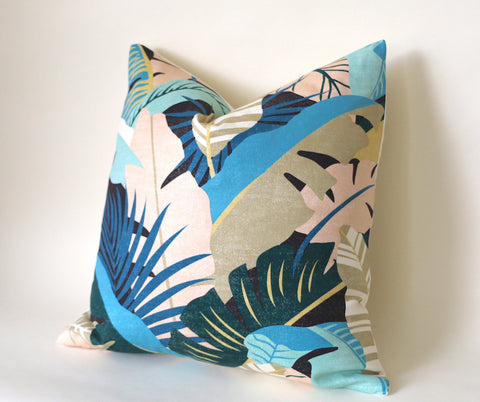 Tropical Pillow Cover / INDOOR Tommy Bahama Banana Leaf / Retro 1980's Style Pillow 18x18 20x20 22x22 Custom 13x20 14x22 14x26 14x30 Lumbar - Annabel Bleu