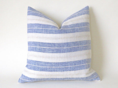 Chambray Blue, Cream, and Beige Ticking Stripe Pillow Cover  12x18 12x21 16x16 18x18 20x20 22x22 24x24 26x26 - Annabel Bleu