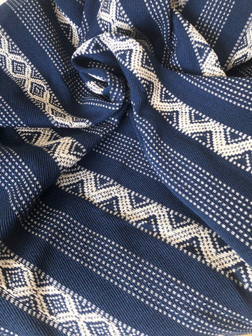 "Bohemian Upholstery Fabric / 56"" wide Fabric / Upholstery by the yard / Blue Upholstery Fabric / Woven Boho Blue Fabric - Annabel Bleu"