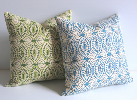 Olive or Aqua Pillow Cover / Batik Pillows / Les Indiennes Pillows / Cotton Block Print Pillow Case / Olive Cushion Cover - Annabel Bleu