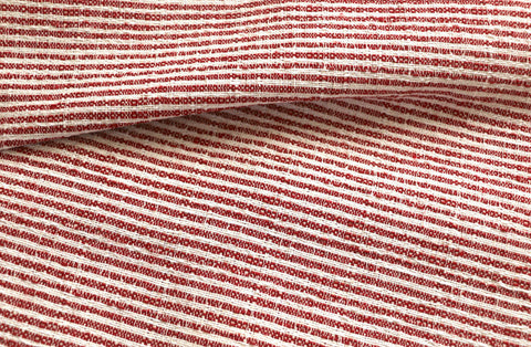 Red Hemp Hmong Fabric / Home Decor Fabric / Red Upholstery / Upholstery Ticking Stripe / Heavyweight Upholstery - Annabel Bleu