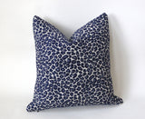 Grey Chenille Leopard Pillow / Indigo Animal Print Cushion / 20x20 Cheetah Pillow or Other Sizes / Velvet Leopard Pillow Cover - Annabel Bleu