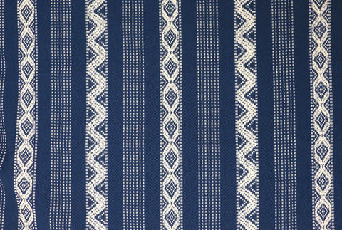 "Blue Ivory Southwest 56"" wide Fabric / Upholstery by the yard / Dark Blue Home Decor Fabric / Diamond Stripe Fabric / Woven Boho Upholstery - Annabel Bleu"