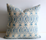 Designer Blue or Green Pillow Cover / Aqua Pillow / Blue Throw Pillow / Boho Decorative Pillows / Les Indiennes Pillow / Light blue Cushion Cover - Annabel Bleu
