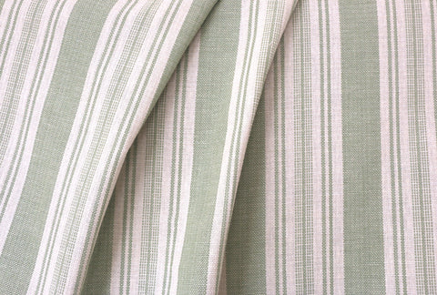 Green Ticking Linen Fabric / Stripe Linen Upholstery / Drapery Fabric / Woven Green Fabric / Light Green Cream Linen by the yard - Annabel Bleu