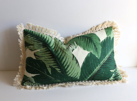 Banana Leaf pillow cover: Linen with Fringe or Pom poms / Banana 18x18 / Hollywood Regency Pillow / Beverly Hills Banana Leaves Pillow Cover - Annabel Bleu