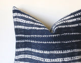 Indigo Mudcloth Pillow 22x22 / 22x22 Southwestern pillow / 22x22 Tribal Pillow / 22x22 Boho Throw Pillow / 22x22 Pillow: Performance Fabric - Annabel Bleu