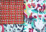 Abstract Floral Upholstery Fabric / Woven Dark Pink Fabric / Heavyweight Upholstery material / Tweed Upholstery fabric by the yard - Annabel Bleu