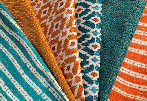 Topanga: A Performance Fabric Collection / Orange Teal Upholstery Fabric by the Yard / Home Decor Fabric - Annabel Bleu