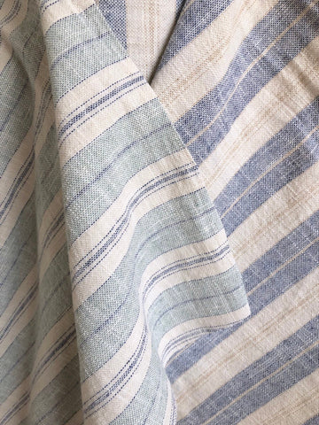 Green Blue Woven Upholstery Fabric / Home Decor Fabric / Cotton Linen Upholstery / Boho Striped Upholstery by the Yard - Annabel Bleu