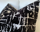 Black Velvet Cushion Cover / Abstract Velvet Pillow / Luxury Silver Pillow Cover / Hollywood Regency Pillow Cover - Annabel Bleu