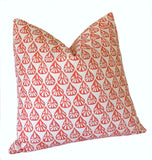 Bright Coral Les Indiennes Decorative Pillow Cover: Available in 10 Sizes - Annabel Bleu