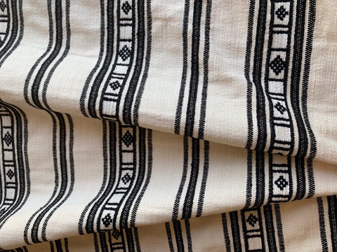 Schumacher Fabric / Ivory Black Serape stripe Fabric / Home Decor Fabric / Upholstery Fabric by the Yard - Annabel Bleu