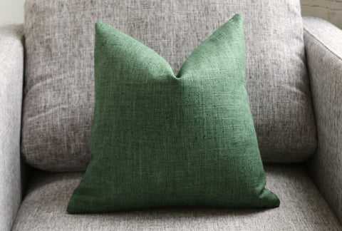 10 Sizes Available: One Solid Green Pillow Cover / Faux Silk - Annabel Bleu