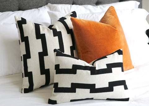 Cream Black Pillow / Embroidered Cushion Cover / ZIPPER Pillow Cover / African Pillow / Geometric Modern Pillow Cover - Annabel Bleu