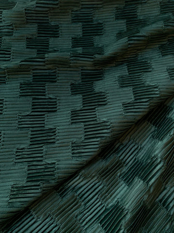 7 yards Pleated Velvet Upholstery Fabric / Spruce Green or Dove Grey / Dark Green Velvet by the yard - Annabel Bleu