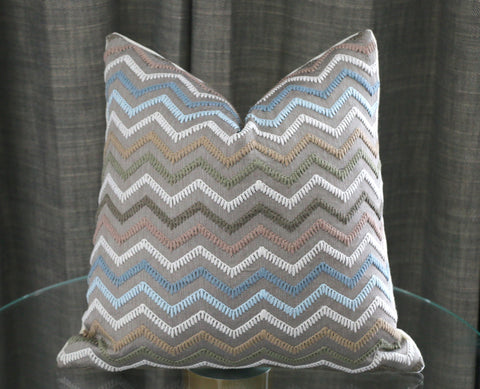 Osborne & Little Taggia Pillow Cover / 18x18 or 12x21 Embroidered Pillow / Blue Beige Chevron Pillow Cover / Taggia F7174-01 - Annabel Bleu