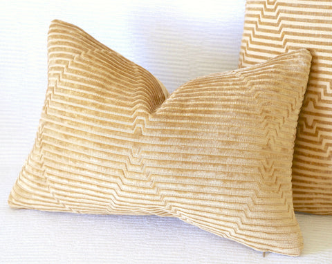 Geometric Gold Velvet pillow cover / Hollywood Regency Decor - Annabel Bleu