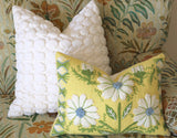 Swedish Schumacher Embroidered Pillow Cover in Blue & Green on Yellow Linen - Annabel Bleu