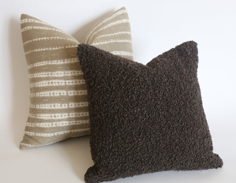 Poodle Pillow Cover in Coffee: Available in 10 Sizes - Annabel Bleu