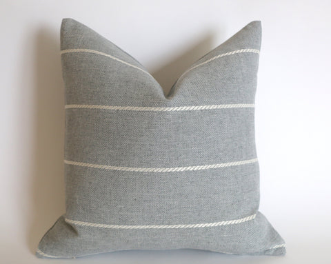 Light Grey Outdoor Pillow Cover / Stripe Outdoor Pillow cover / Gray Patio Pillow / Porch Pillow Cover / Outdoor 12x18 18x18 20x20 - Annabel Bleu