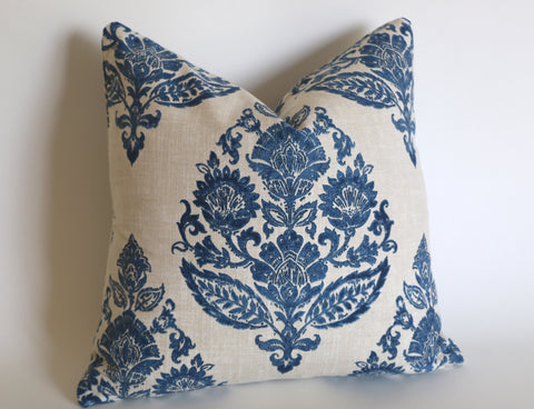 Antique Blue Damask Pillow Cover / Blue Beige Floral Cushion / Damask Pillow Cover / French Country Pillow Cover / Block Print Pillow Cover - Annabel Bleu