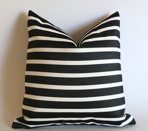 Black Striped Outdoor Pillow Cover / 18x18 Outdoor Large Black Cushion / 18x18 Genuine Sunbrella Pillow / Black Stripe Pillow cover 18x18 - Annabel Bleu
