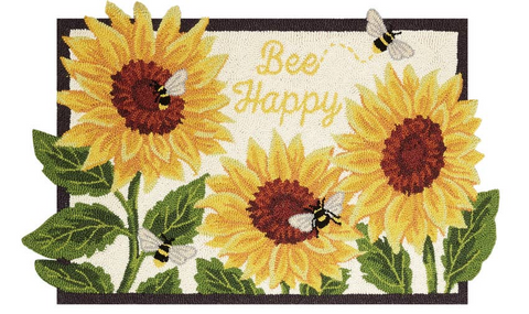 Bee Happy Wool Hooked Rug 2x3 feet - Annabel Bleu
