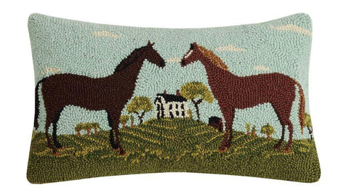 Equestrian Farm Wool Hooked Pillow - Annabel Bleu