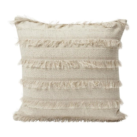 Pampas: Boho Woven Schumacher Fringed Pillow Cover - Annabel Bleu