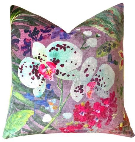 Twilight Orchids Velvet Decorative Pillow Cover or Euro Sham - Annabel Bleu