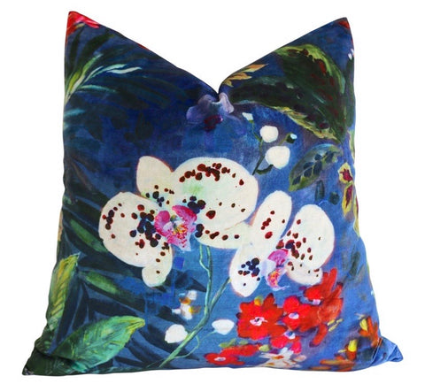 Evening Orchids Velvet Decorative Pillow Cover or Euro Sham - Annabel Bleu