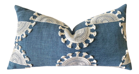 Blue Linen Suns Boho Embroidered Pillow Cover