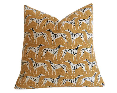 Mustard Dalmatian Pillow Cover / Mid Century Modern Dog Print Pillow Cover - Annabel Bleu