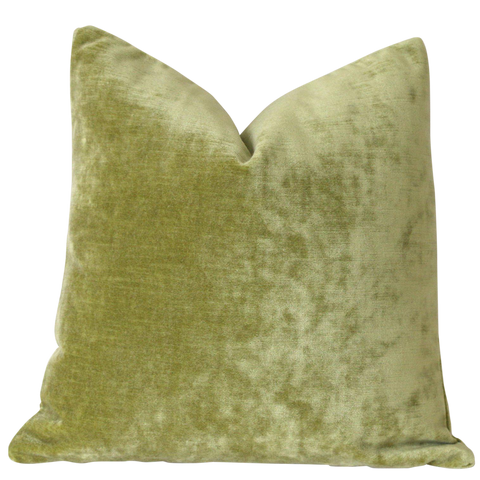 Chartreuse Green Velvet Pillow / Light Green Velvet Cushion Cover / ZIPPER Pillow Cover / Solid Green Pillow / Green Yellow Pillow Cover - Annabel Bleu