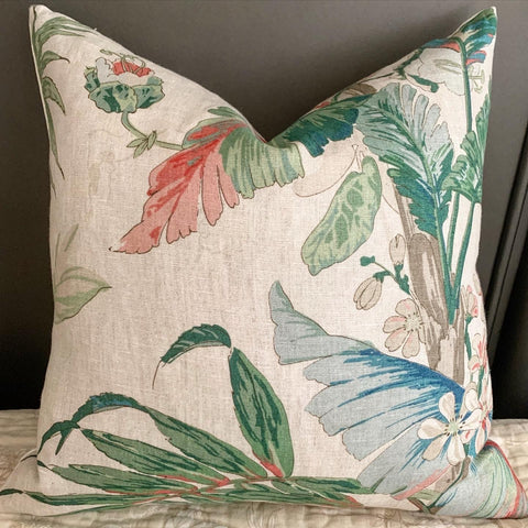 Schumacher Tropique Linen Pillow Cover: Please note, Zipper at the top! - Annabel Bleu