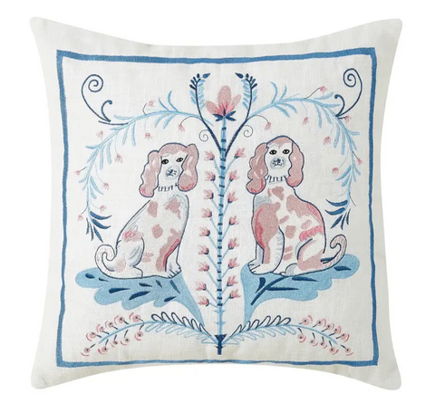 Staffordshire Toile Dogs Needlepoint Pillow - Annabel Bleu