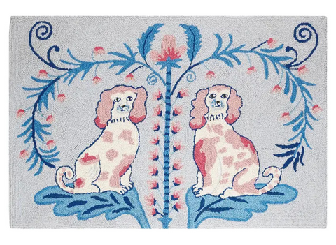 "Staffordshire Toile Wool Hooked Rug 27x40"" - Annabel Bleu"