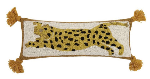 Cheetah Wool Hooked Pillow with Tassels: Preorder - Annabel Bleu