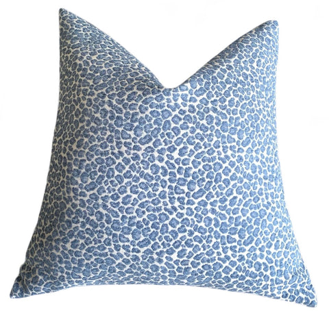 Light Blue Chenille Leopard Pillow Cover : Available in 10 Sizes - Annabel Bleu