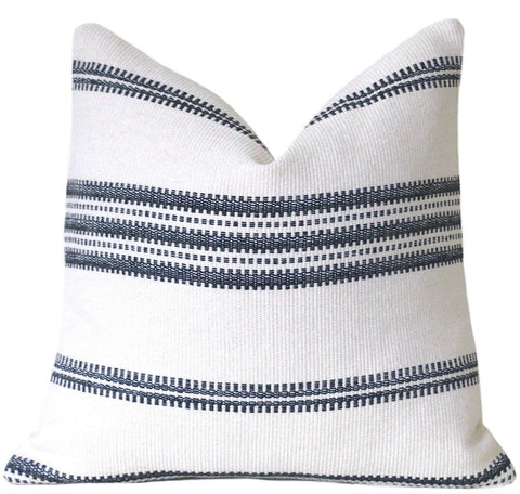 SALE Mudcloth Style Throw Pillow Cover / Black Stripe Cream Pillow Cover - Annabel Bleu