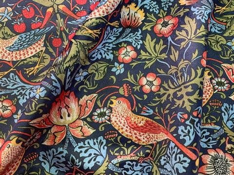 Navy Strawberry Thief: Velvet William Morris Upholstery Fabric by the yard / Historic Velvet Home Fabric / High End Upholstery Velvet - Annabel Bleu