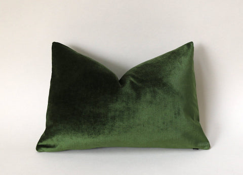 Green Velvet Cushion Cover / Green Velvet Pillow / Velvet Pillow Cover / Solid Green Pillow / Christmas Pillow Cover - Annabel Bleu