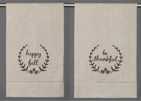 Happy Fall! Embroidered Linen Guest Towel - Annabel Bleu