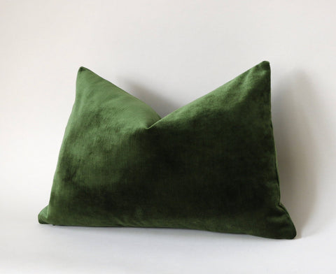Dark Green Euro Sham or Accent sizes / Green Velvet 24x24 / 26x26 Pillow Cover / Solid Green Euro Sham / Green Bed Pillow case - Annabel Bleu